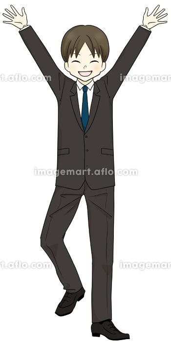 スーツを着た男性 バンザイ 喜ぶの販売画像