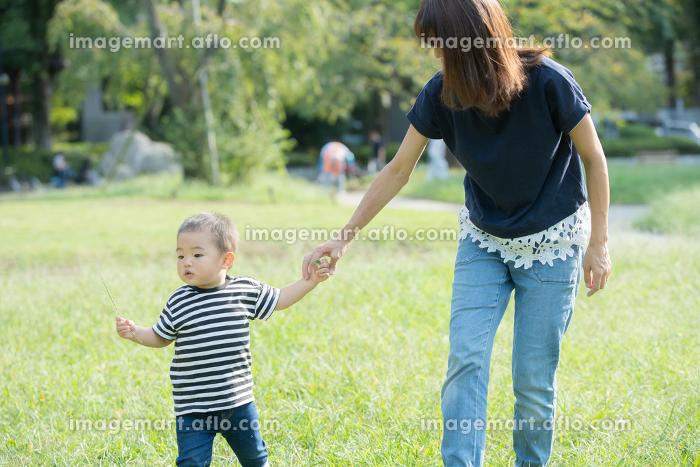 公園での親子(2歳児)の販売画像