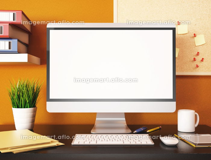 3D Office with blank computer screen. Mockupの販売画像