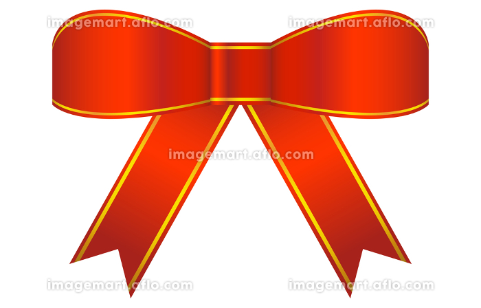 赤いリボン飾りのイラストの販売画像