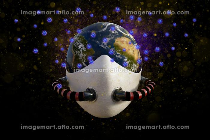 地球全体にウイルスが蔓延したイメージ(アフリカ大陸とアメリカ大陸側)の販売画像
