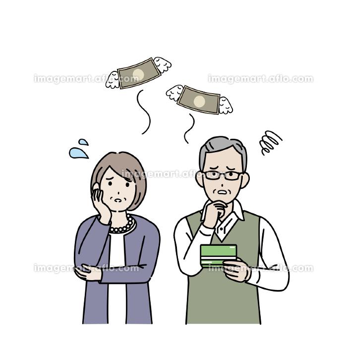 金欠 貯金 出費 お金がない 年配の男女 老夫婦 シニア 男女 貧困 イラスト素材の販売画像