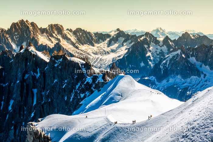 mont blanc,chamonix,french alps. france. - tourists climbing up the mountainの販売画像