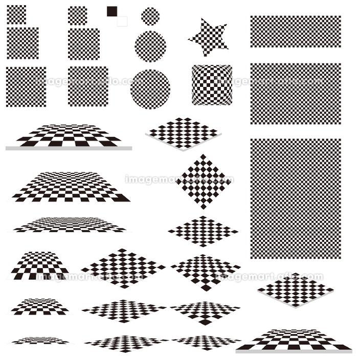 イラスト素材 パターン 白黒 タイル素材 イラストの販売画像