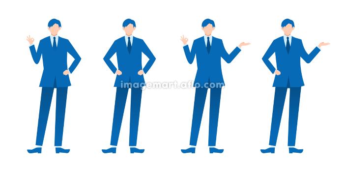 ビジネスパーソン 男性 セット 全身 フラットイラストの販売画像