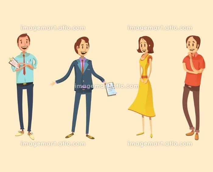 Shop Assistant Retro Cartoon Set. Shop assistant retro cartoon set with salesman and customers isolated vector illustration