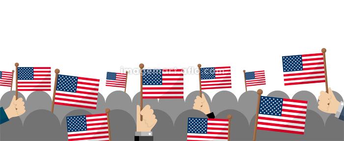 手持ち国旗 集団・群衆イラスト ( 愛国心・イベント・お祝い ・デモ) / アメリカ・USAの販売画像