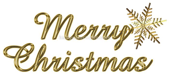 金色のメタリックのレリーフ状の筆記体のメリークリスマスのロゴ、雪の結晶の販売画像