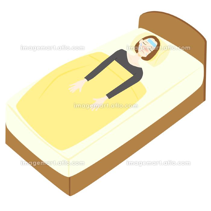 体調不良 熱 寝る 女性の販売画像