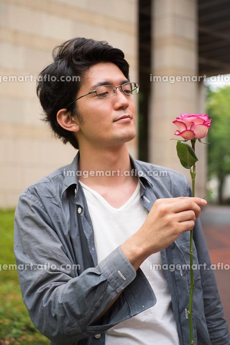 一輪の薔薇を持つ男性の販売画像