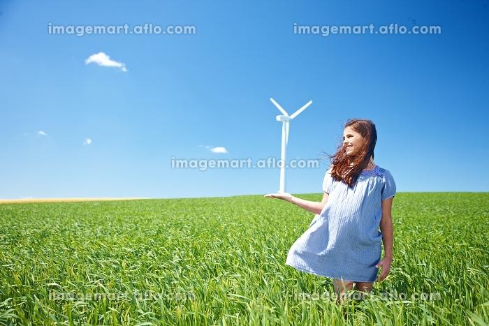 風車と少女の販売画像