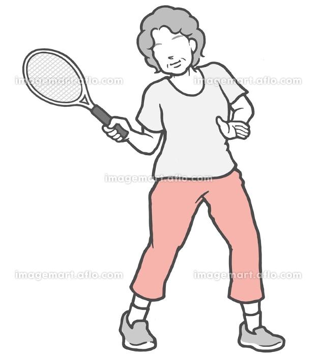 テニス 中年女性 女性の販売画像