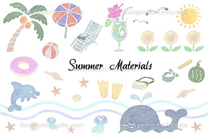水彩版画風の夏のイラストのセットの販売画像
