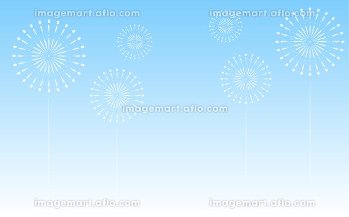 青空を背景にした打ち上げ花火の販売画像