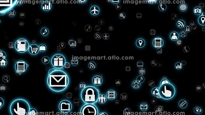 テクノロジー アイコン ネットワーク シンボル インターネット デジタル デバイス 3D イラストの販売画像
