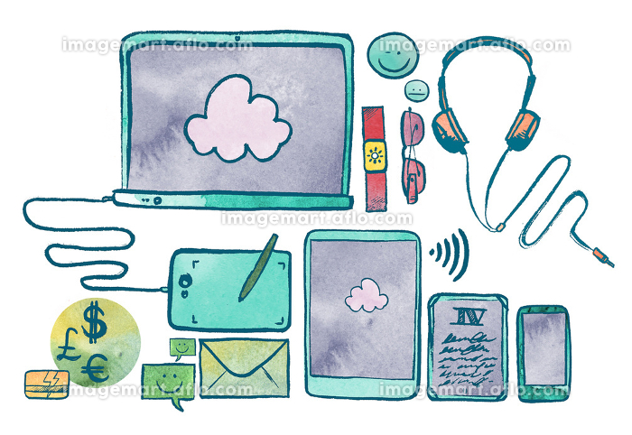 Watercolor Illustration Of Communication Technology Devicesの販売画像