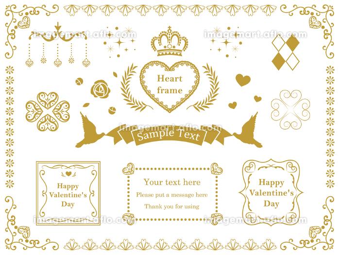ハート バレンタインの豪華なフレーム 枠の販売画像