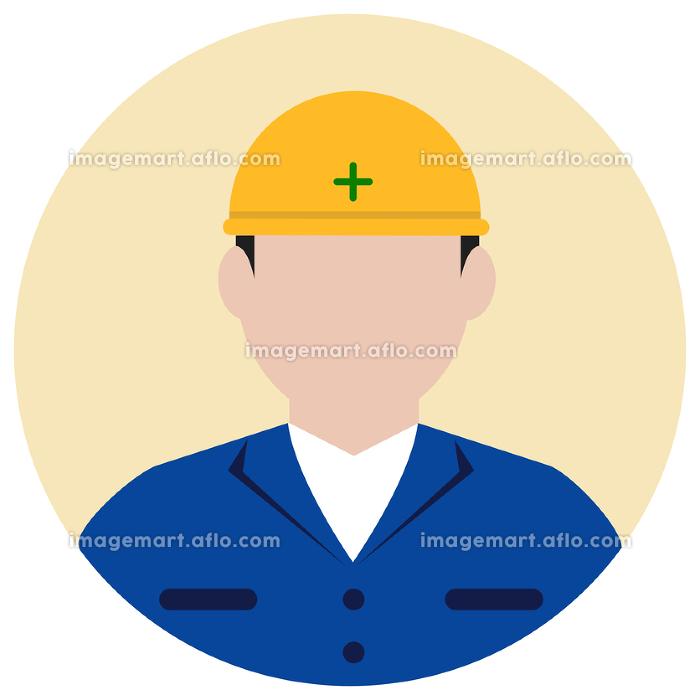 シルエット人物 円形アバターイラスト/ 工事作業員・肉体労働者の販売画像