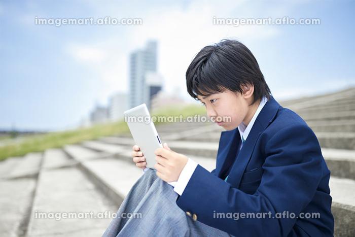 真剣にタブレットを見ている日本人男子中学生の販売画像