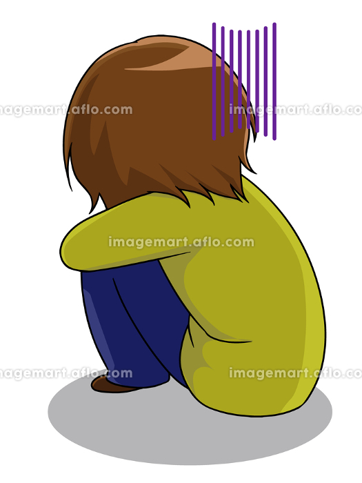 膝を抱え体育すわりで落ち込む女性の販売画像