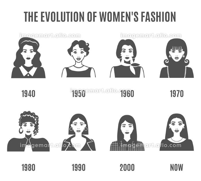 Fashion Evolution Black White Avatar Set.  Women Fashion Black White Icons Set. Fashion Evolution Vector Illustration. Fashion Evolution Decorative Set.  Fashion Evolution Avatar Design Set. Fashion Evolution Flat Isolated Set.