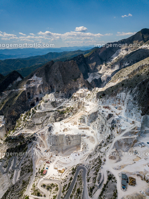 Colonnata village and Carrara mountains. Massa-Carrara Tuscany Italy