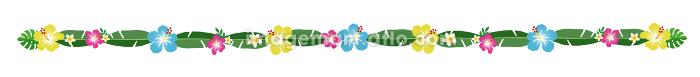 南国の葉と花の装飾、ライン、区切り線 隙間なし(No.3)の販売画像