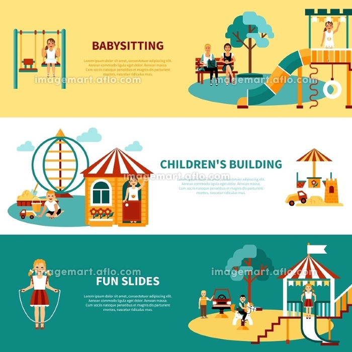Playground Flat Banner. Flat horizontal banners with title and descriptions of playground equipment babysitting childrens building slides vector illustrationの販売画像