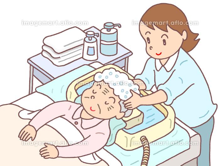 要介護者の洗髪の販売画像