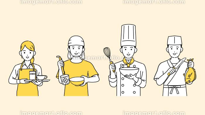 料理人 シェフ 調理師 飲食店の店員 人々 イラスト素材の販売画像