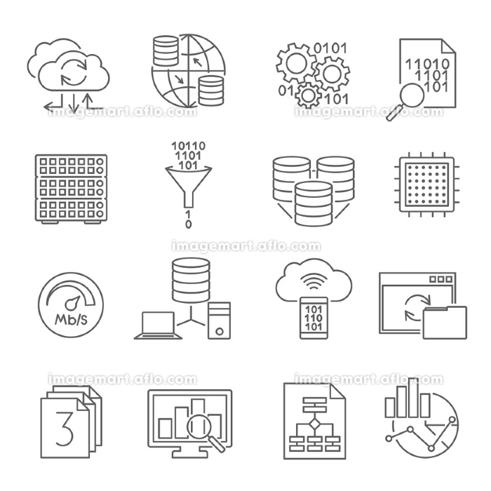 Database Analytics Line Icons Set . Data analysis analytics conclusions for business optimal strategy software icons set line abstract isolated vector illustration