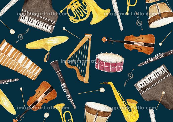 楽器 オーケストラ 背景 テキスタイル 水彩 イラストの販売画像