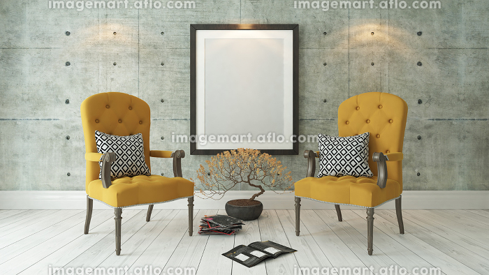 black picture frames with double yellow bergere and concrete wall background, template designの販売画像