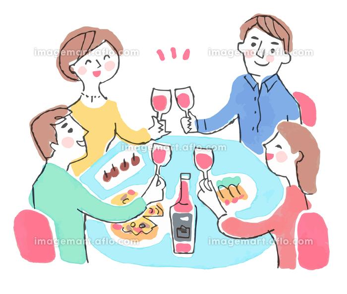 ワインで乾杯する男女の販売画像