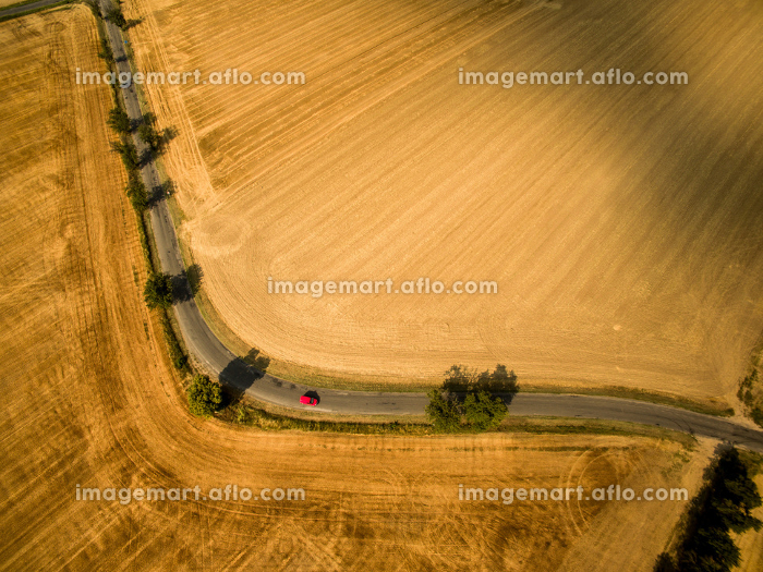 Farmland from above - aerial image of a lush green filed and a small country road with a carの販売画像
