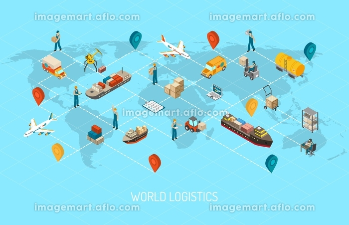 Logistics Operations Worldwide Isometric Poster . International logistic company worldwide operations with cargo distribution shipment and transportations map isometric poster abstract vector illustration