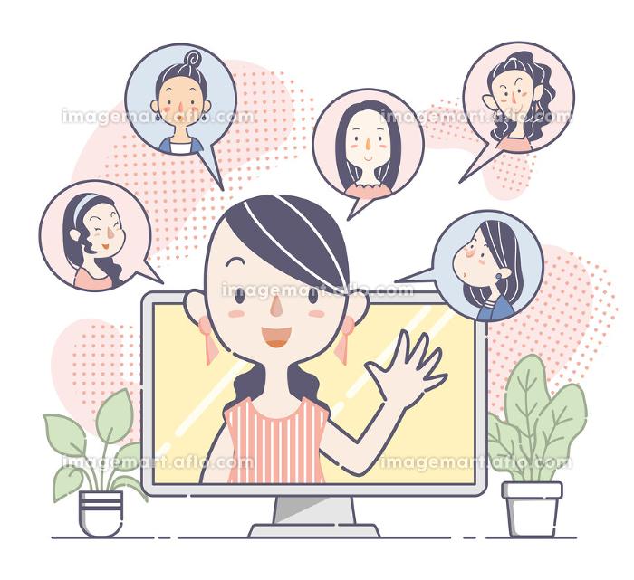 ウェブ会議で話し合う若い女性グループ、チームの販売画像