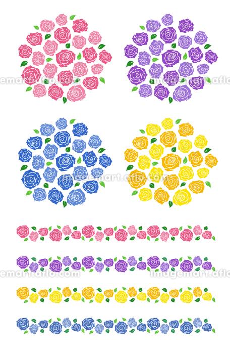 バラの花束と装飾ラインセットの販売画像