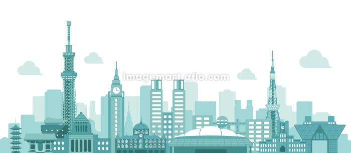 東京 街並み・ランドマーク・ビル群 ベクター背景イラスト