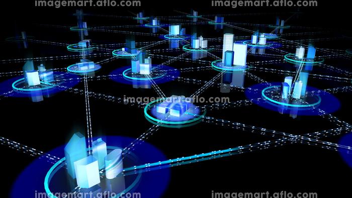 通信 ネットワーク テクノロジー 都市 デジタル データ 情報 ビジネス 3D イラスト 背景の販売画像