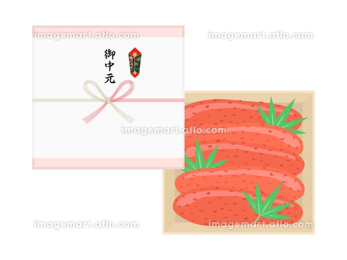 辛子明太子の御中元のイラストの販売画像