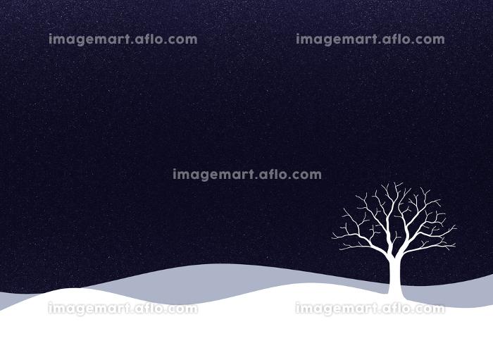 一本の木がある雪景色のイラスト 1の販売画像