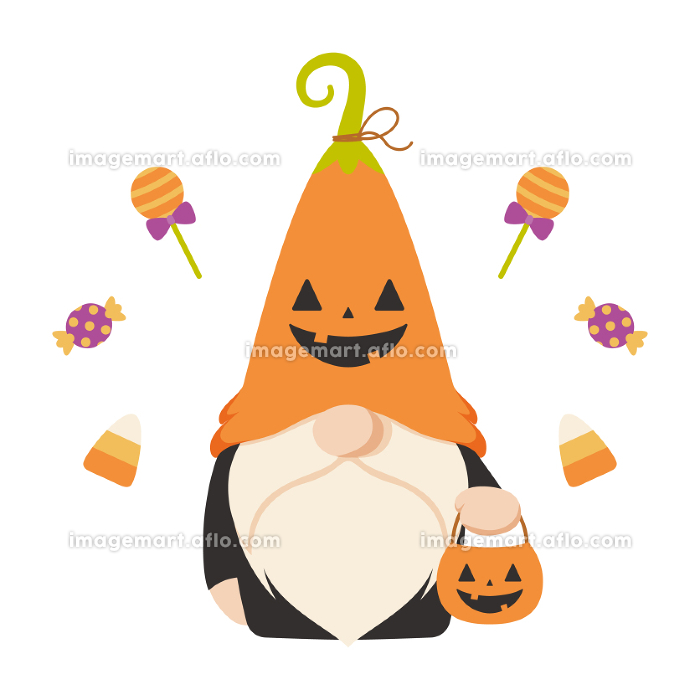 ハロウィンのカボチャの仮装をした北欧の小人のキャラクターの販売画像