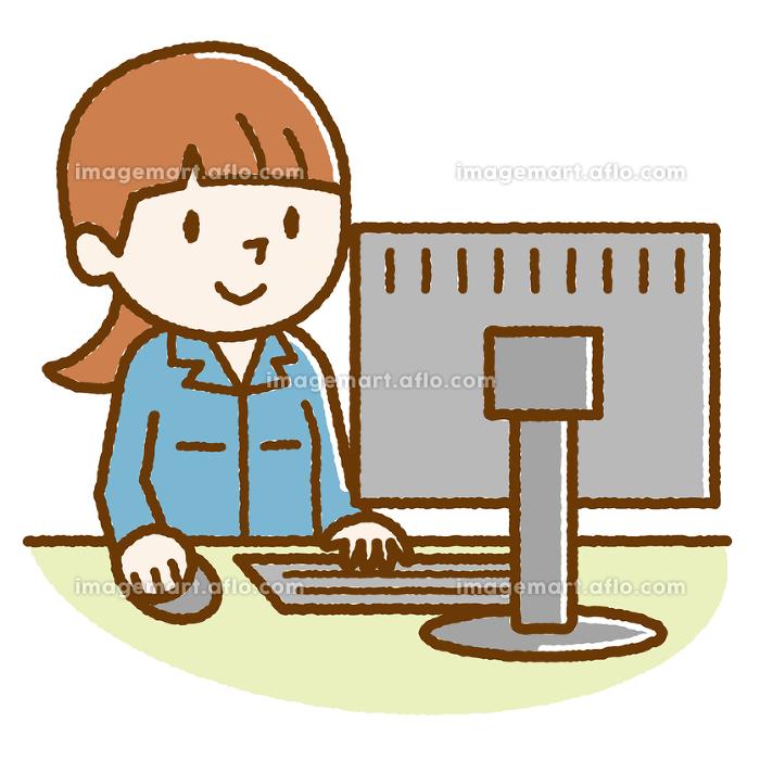作業着 パソコン 女性 手描き風の販売画像