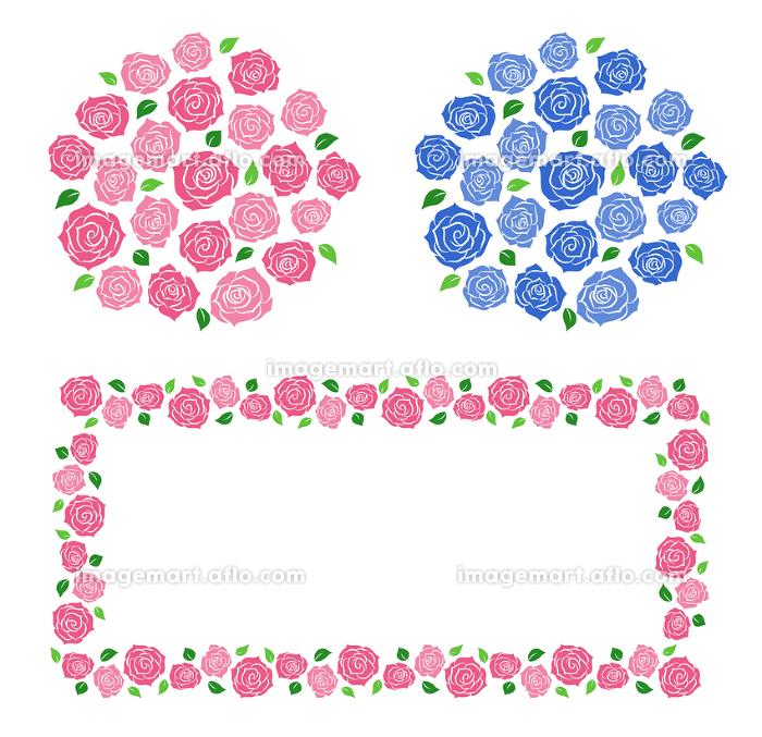 バラのフレームと花束セットの販売画像