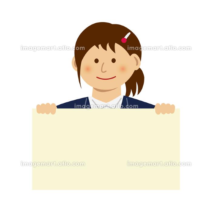 人物イラスト / フリップボードを持つ女性会社員の販売画像