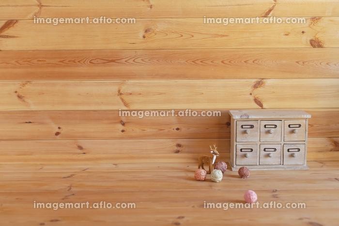 木の部屋の合成向け背景素材