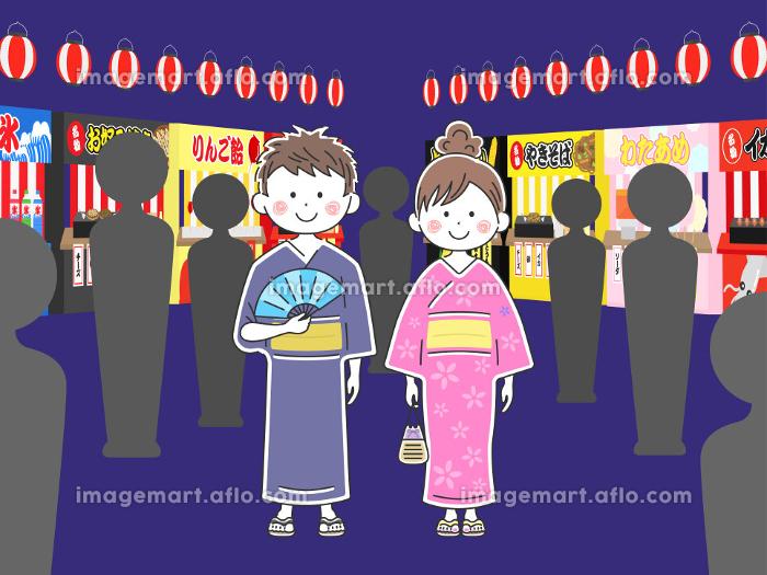 浴衣を着た若い男女のイラスト 夏祭りの販売画像