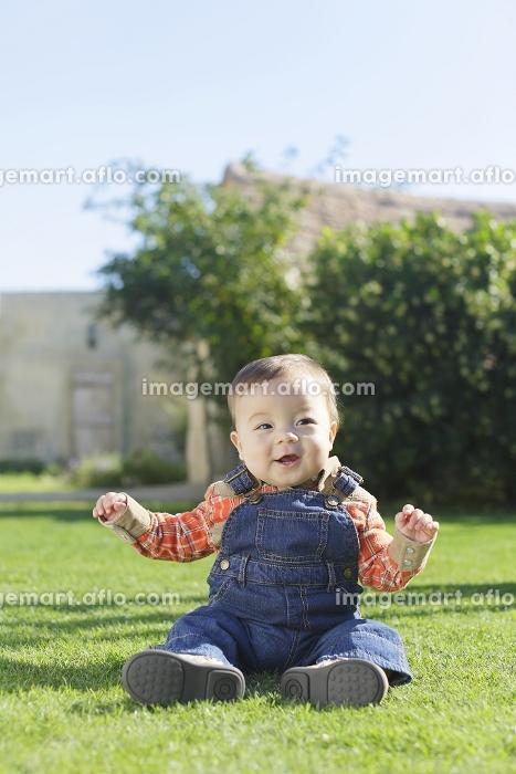 芝生で遊ぶ笑顔の赤ちゃんの販売画像