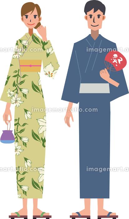 日本の夏祭り 浴衣を着た男女の販売画像